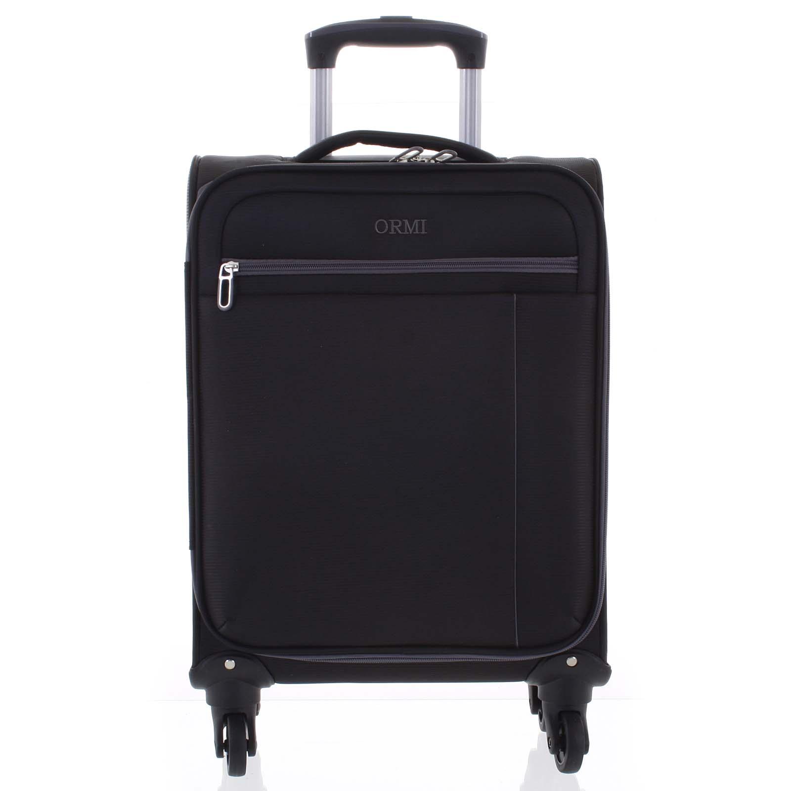 Kvalitný elegantný látkový čierny cestovný kufor - Ormi Mada L
