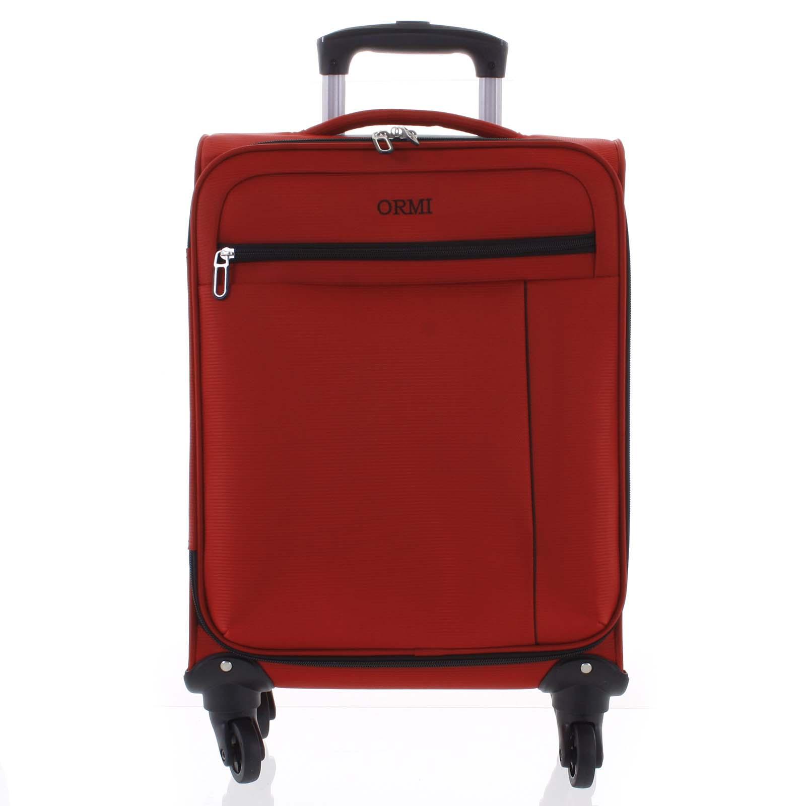 Kvalitný elegantný látkový červený cestovný kufor - Ormi Mada L