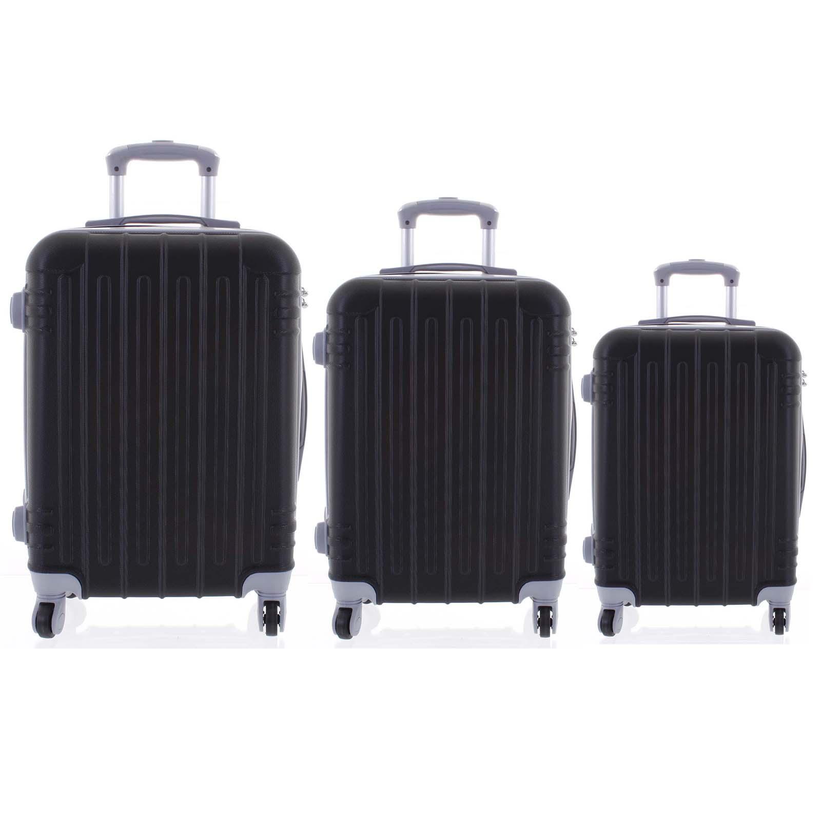 Moderný čierny škrupinový cestovný kufor sada - Ormi Dopp S, M, L