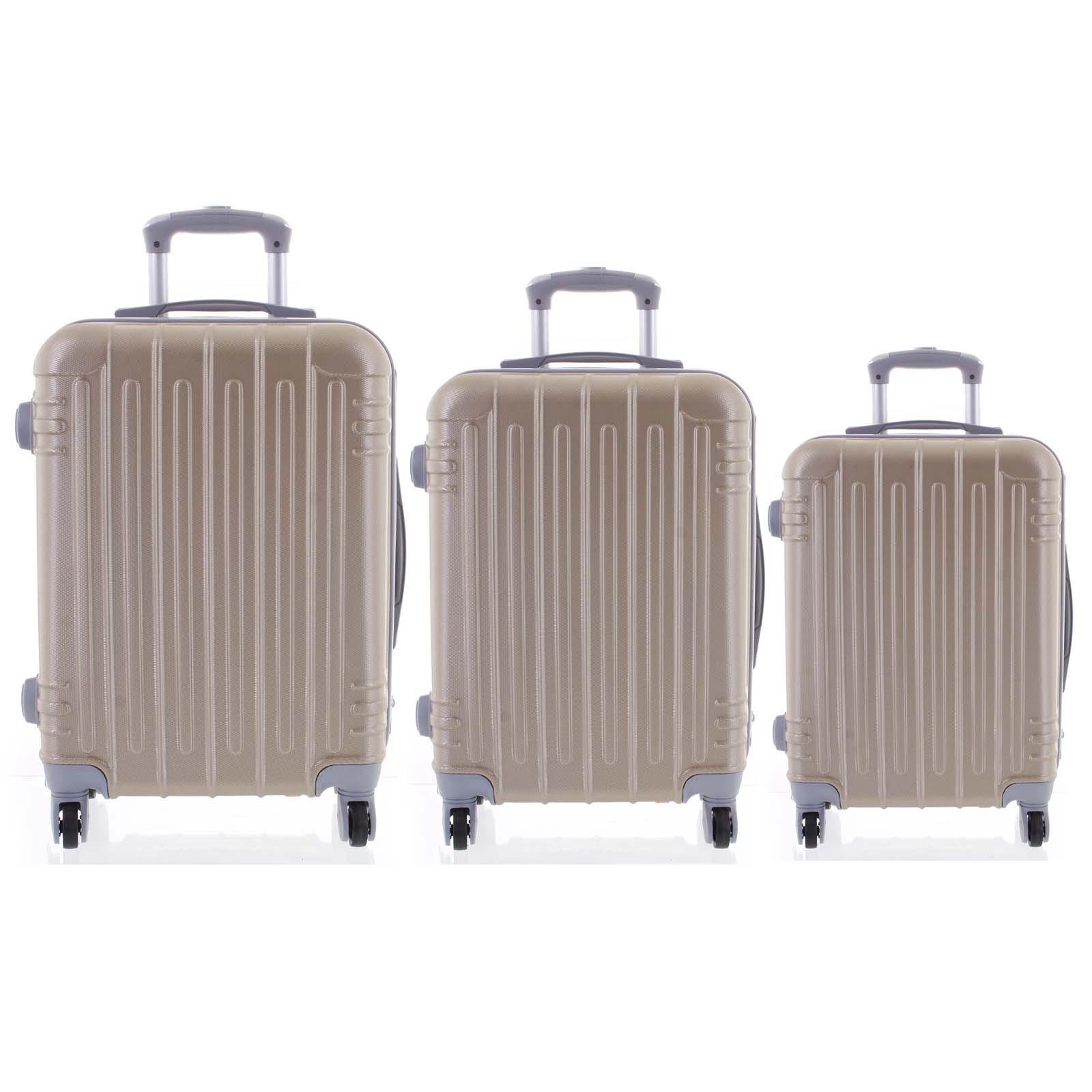 Moderný zlatý škrupinový cestovný kufor sada - Ormi Dopp S, M, L