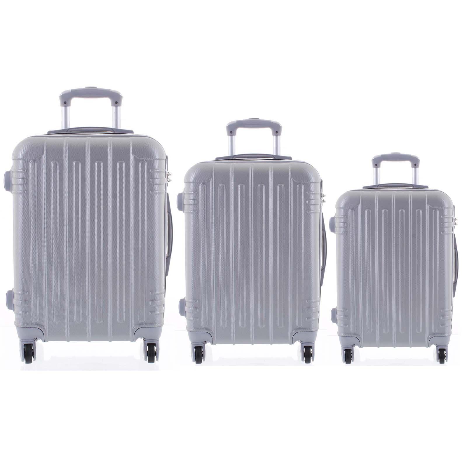 Moderný strieborný škrupinový cestovný kufor sada - Ormi Dopp S, M, L