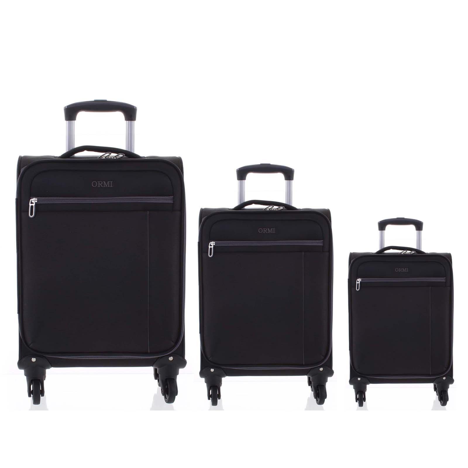 5e391c8921 Kvalitný elegantný látkový čierny cestovný kufor sada - Ormi Mada L ...