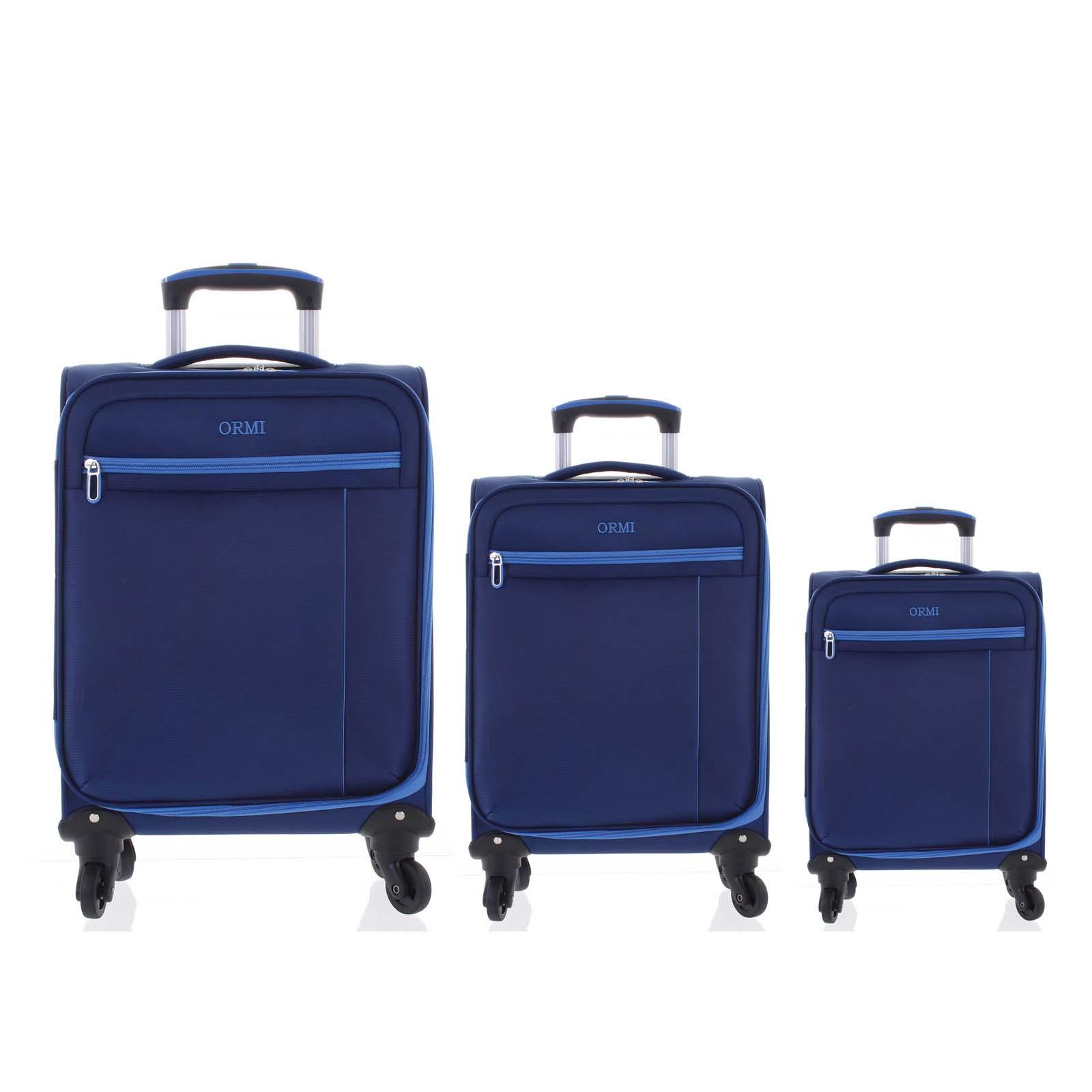 Kvalitný elegantný látkový modrý cestovný kufor sada - Ormi Mada L, M, S