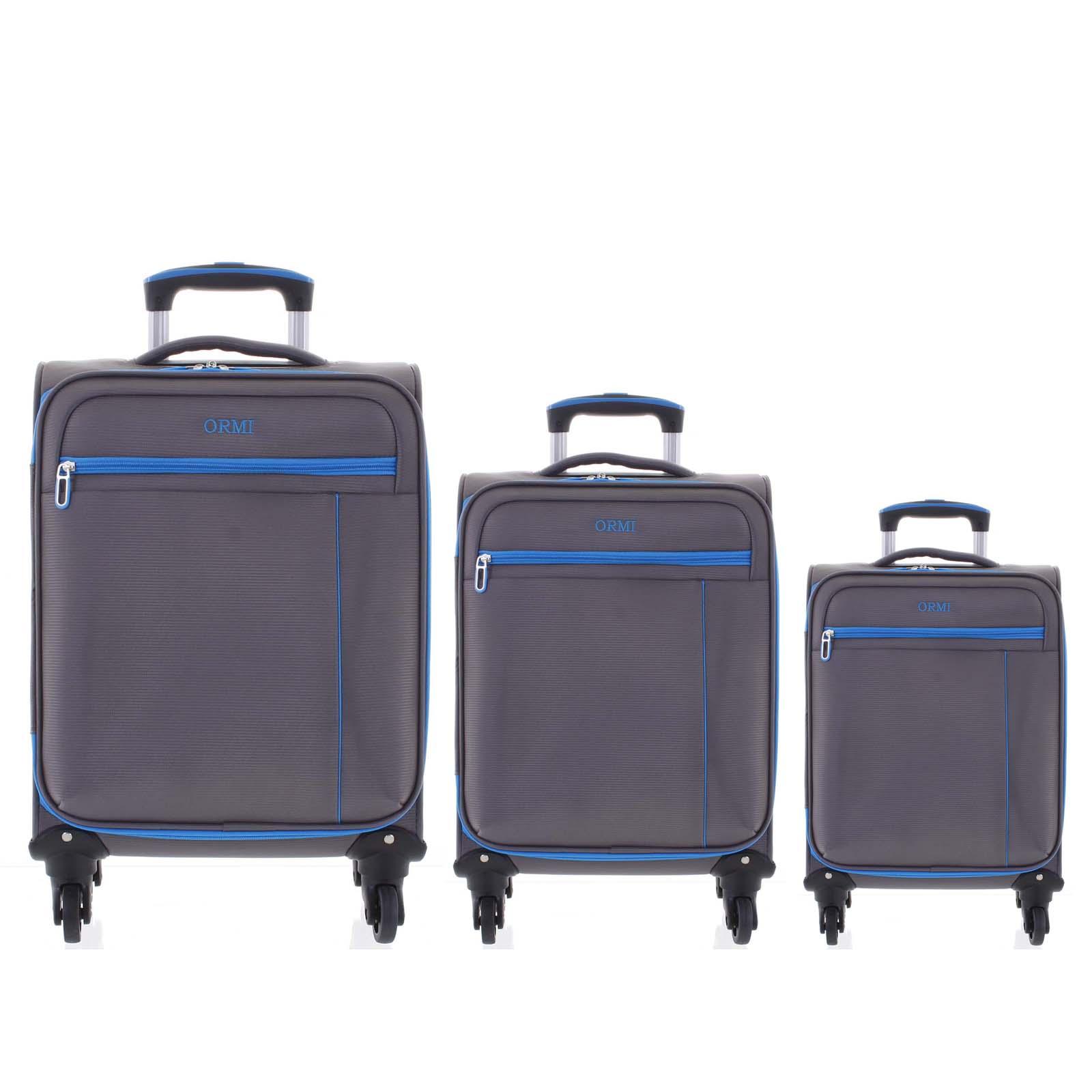 Kvalitný elegantný látkový sivý cestovný kufor sada - Ormi Mada L, M, S