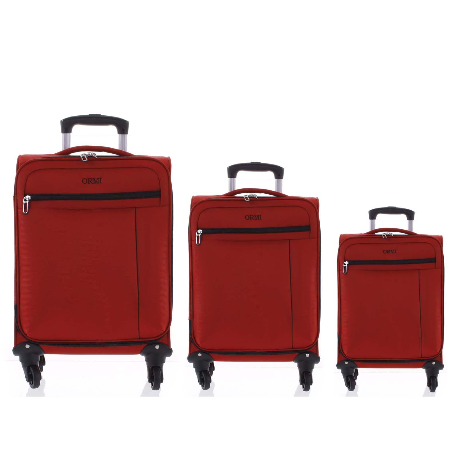 Kvalitný elegantný látkový červený cestovný kufor sada - Ormi Mada L, M, S