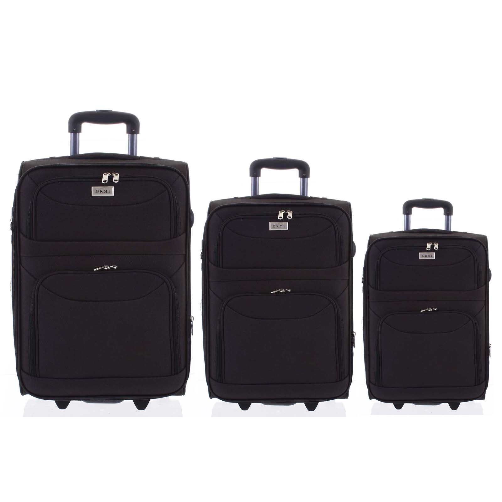 Klasický látkový čierny cestovný kufor sada - Ormi Stof S, M, L