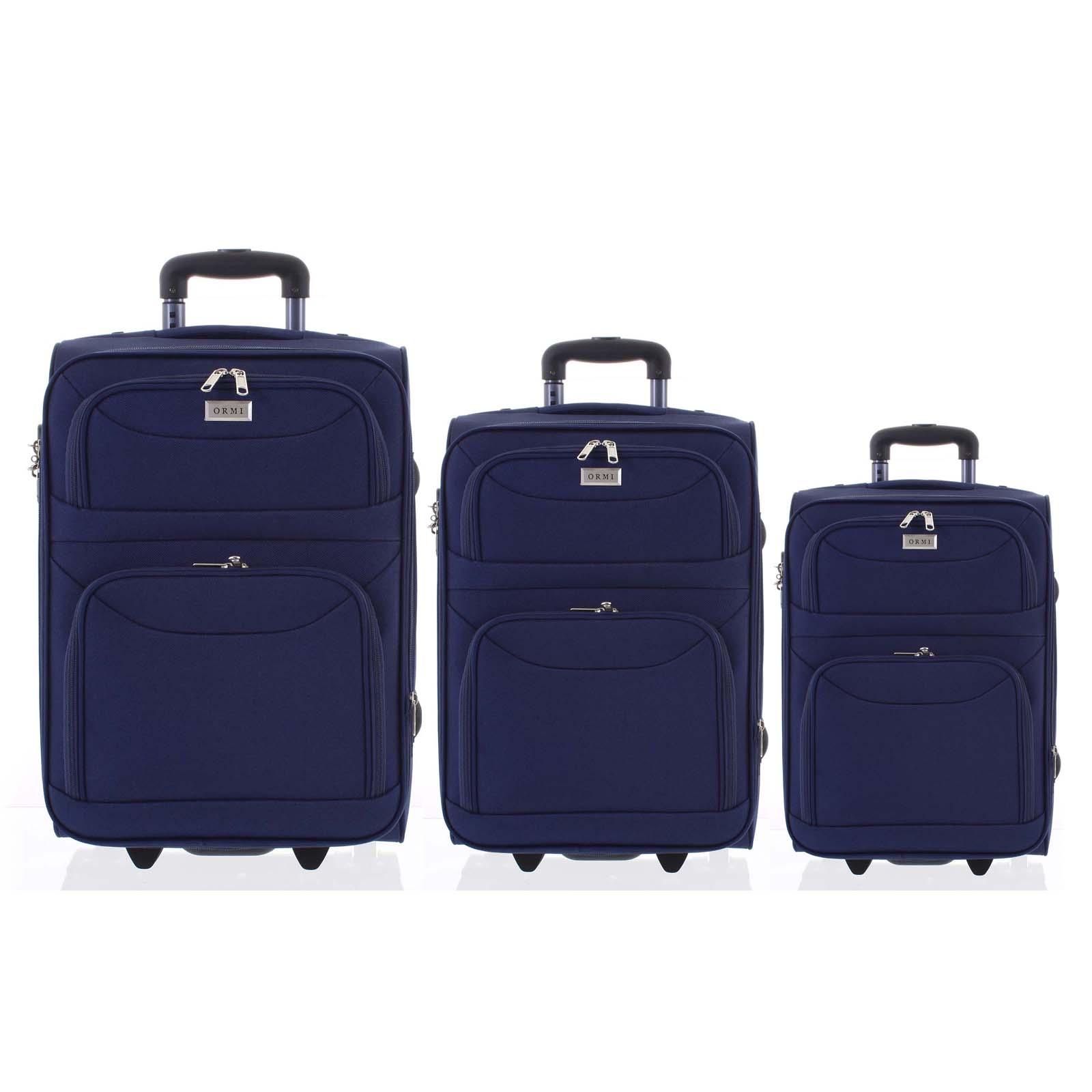 Klasický látkový modrý cestovný kufor sada - Ormi Stof S, M, L