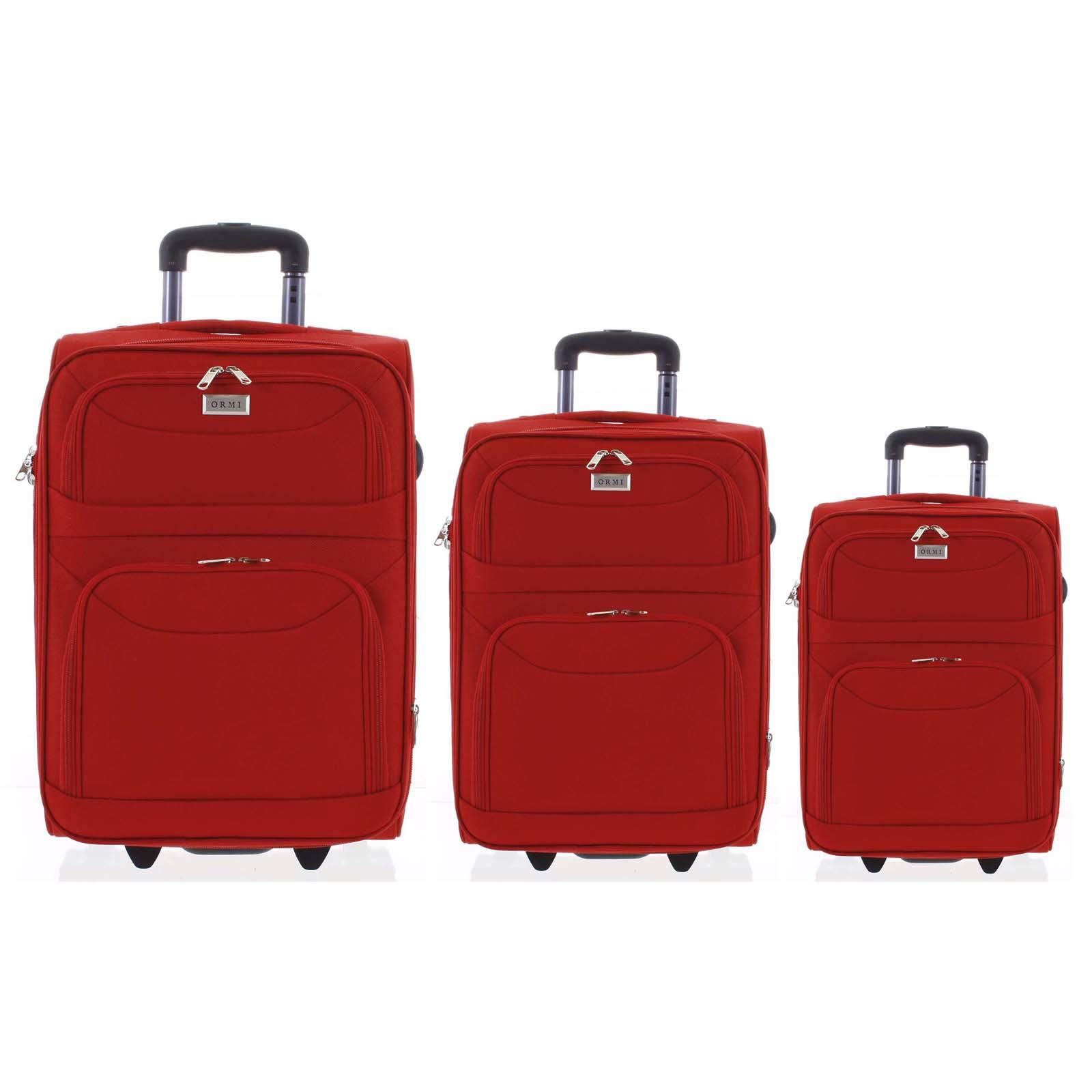 Klasický látkový červený cestovný kufor sada - Ormi Stof S, M, L