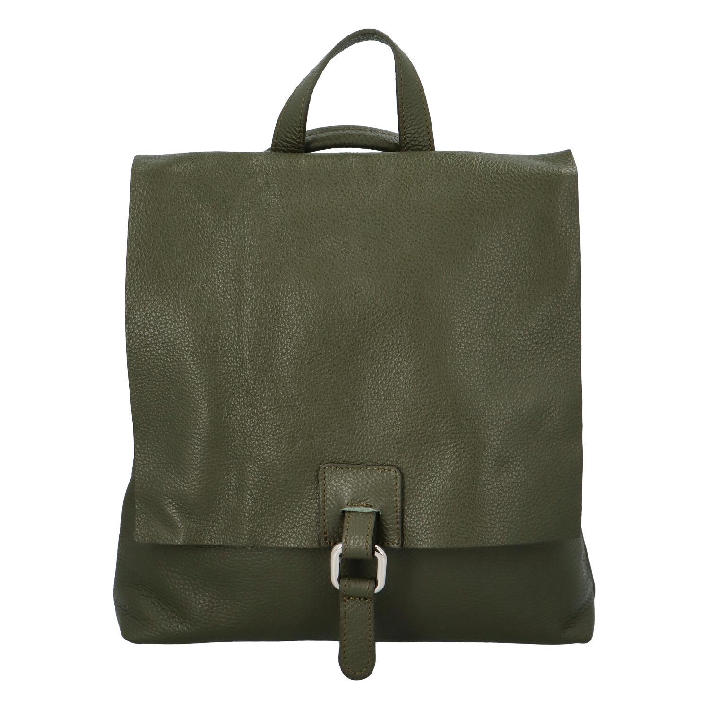 Dámsky kožený batôžtek kabelka olivovo zelený - ItalY Francesco