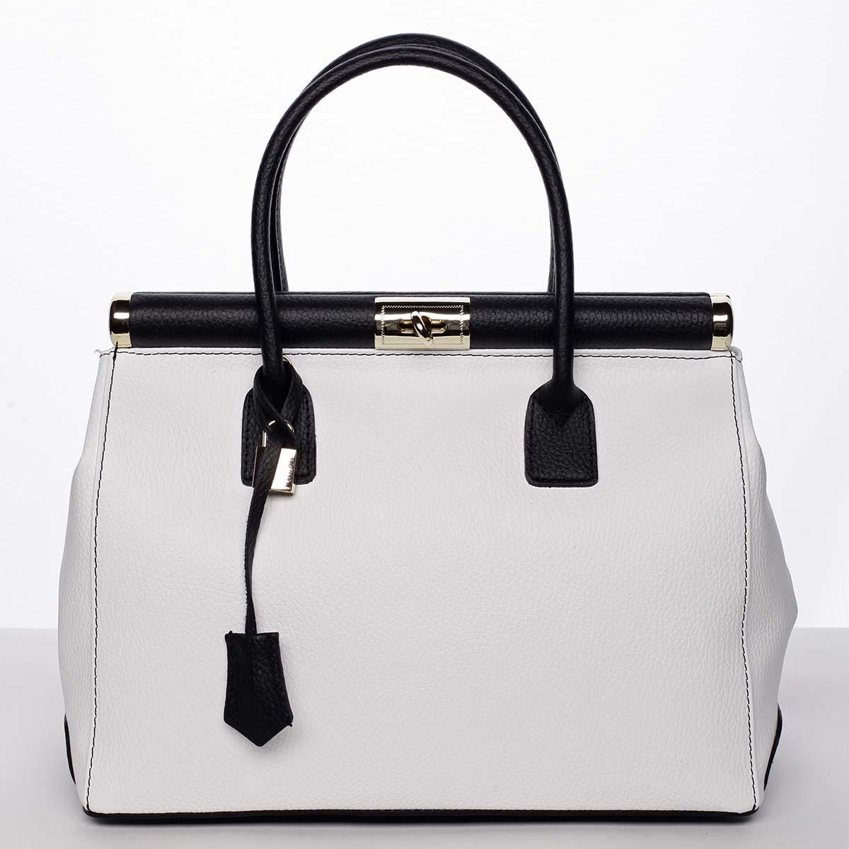 Originálna módna dámska kožená kabelka do ruky biela - ItalY Hila