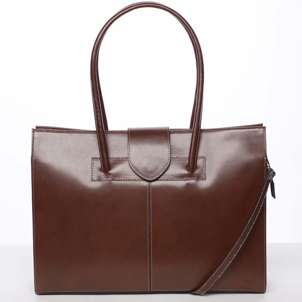 Elegantná a módna dámska kožená kabelka hnedá - ItalY Alison