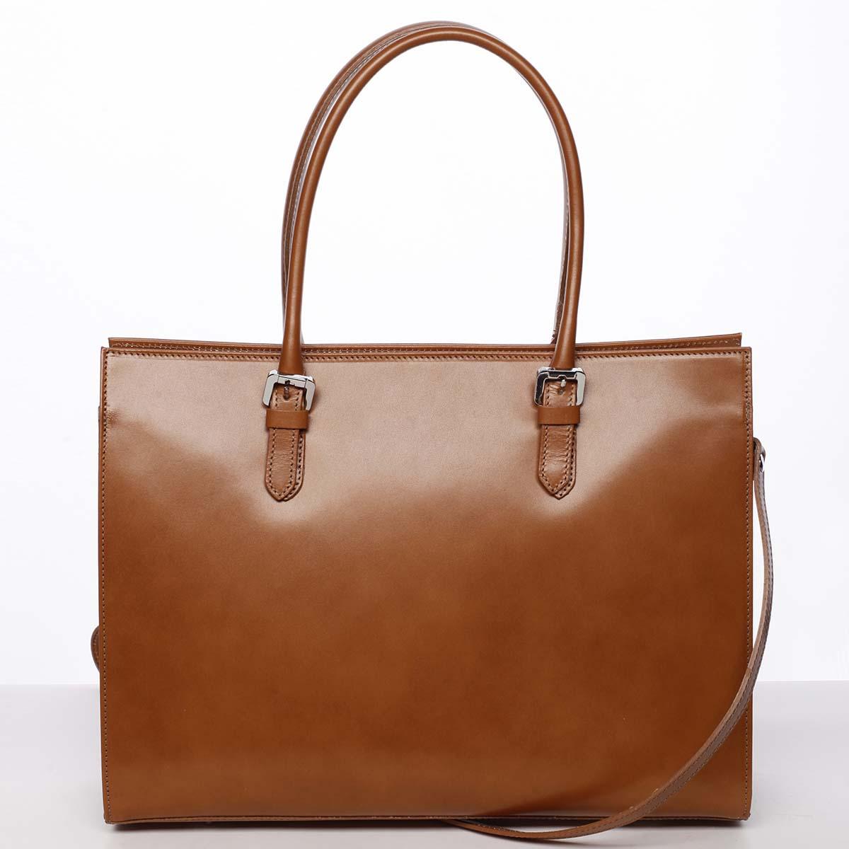 Moderná elegantná dámska kožená kabelka koňaková - ItalY Madelia