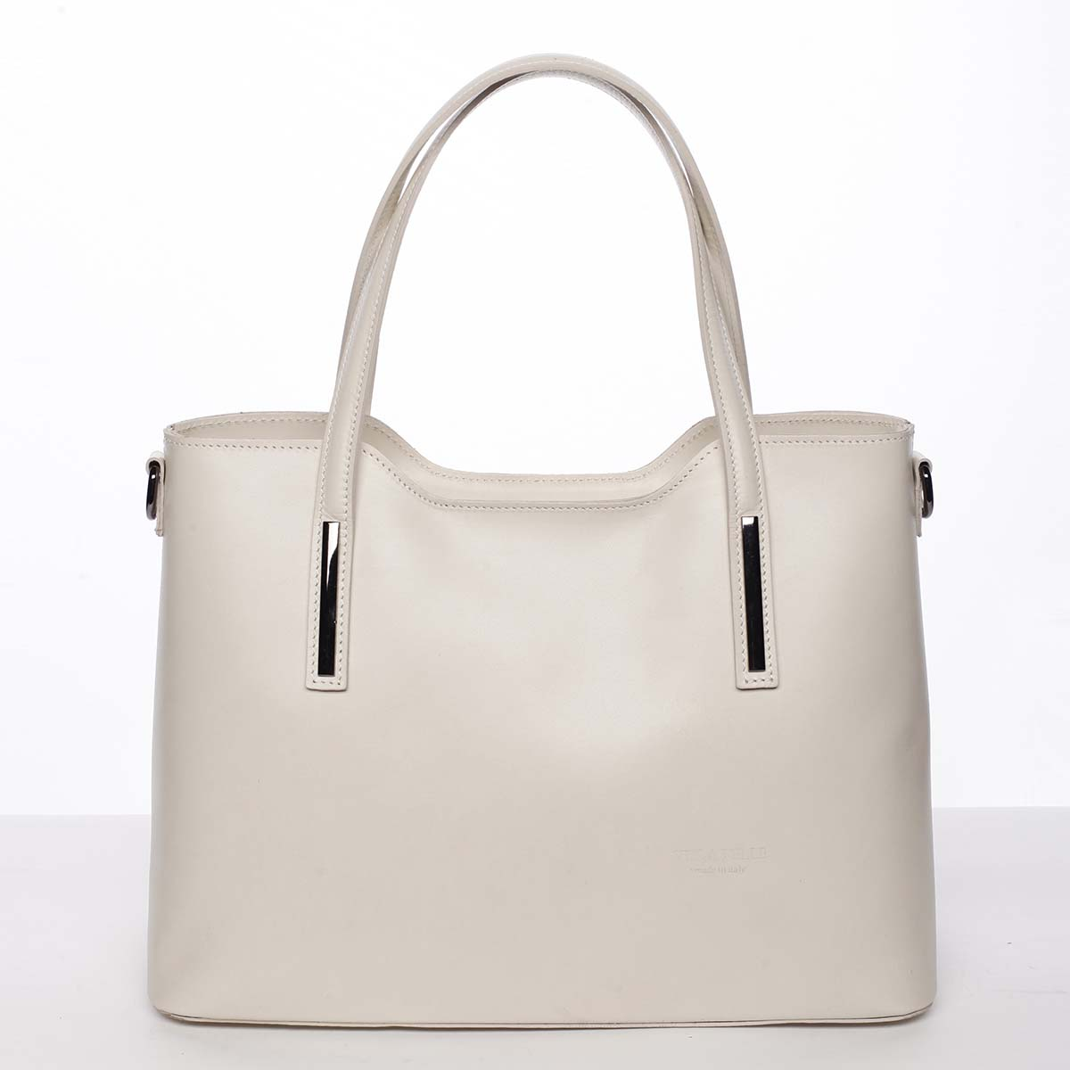 Väčšia kožená kabelka béžová - ItalY Sandy