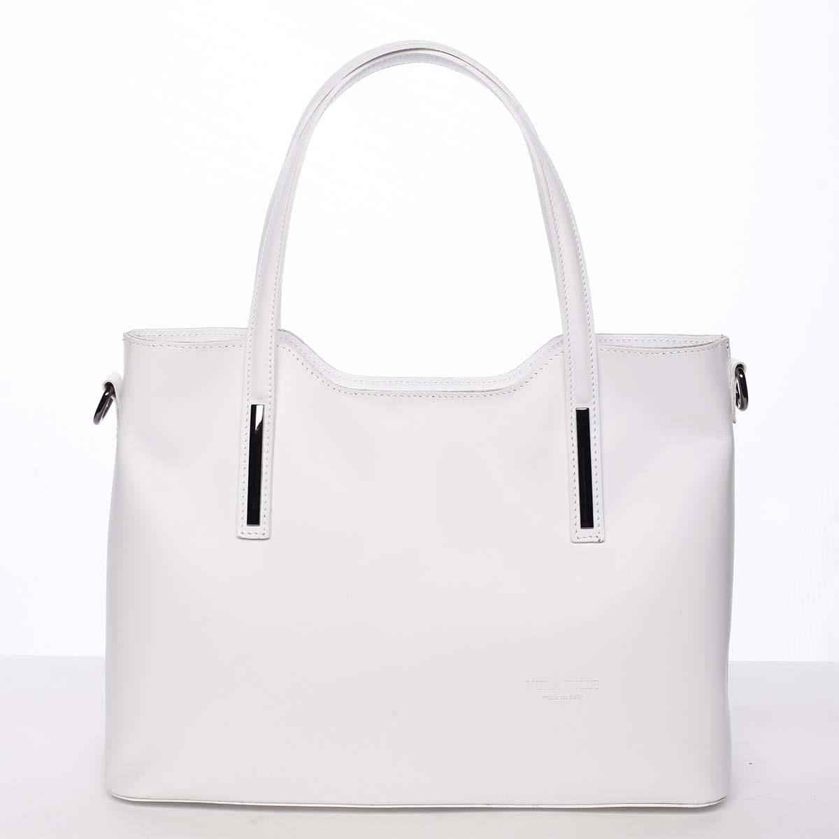 Väčšia kožená kabelka biela - ItalY Sandy