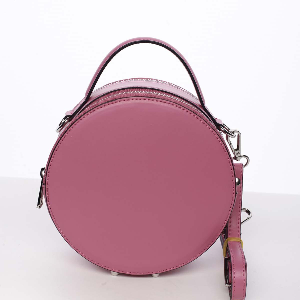 Malá fuchsiová elegantná dámska kožená kabelka - ItalY Husna