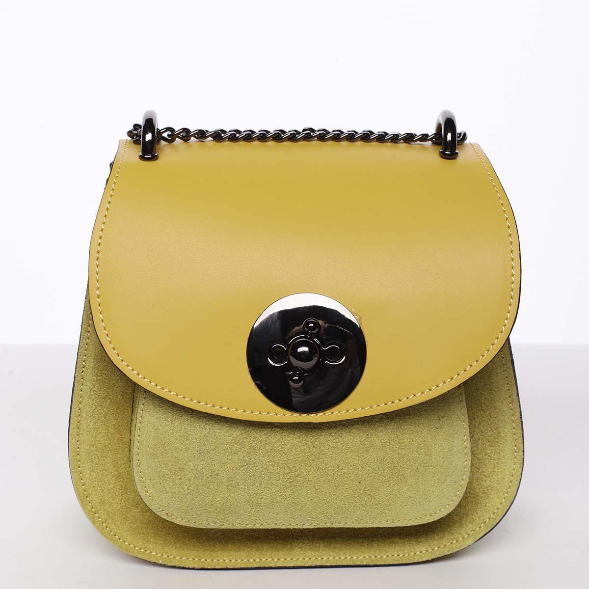Malá dámska kožená polobrúsená kabelka žltá - ItalY Karishma