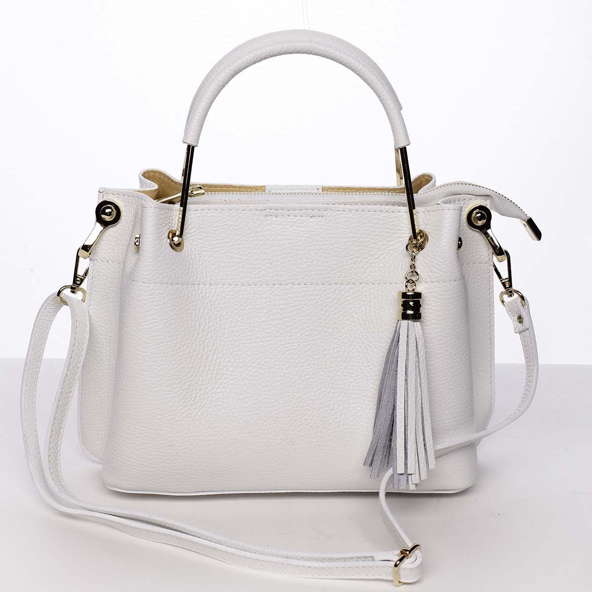Exkluzívna dámska kožená kabelka biela - ItalY Maarj