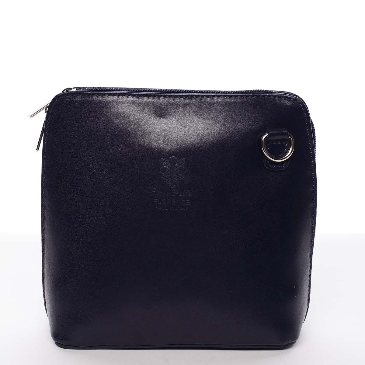 Dámska kožená crossbody kabelka tmavomodrá - ItalY Hannah