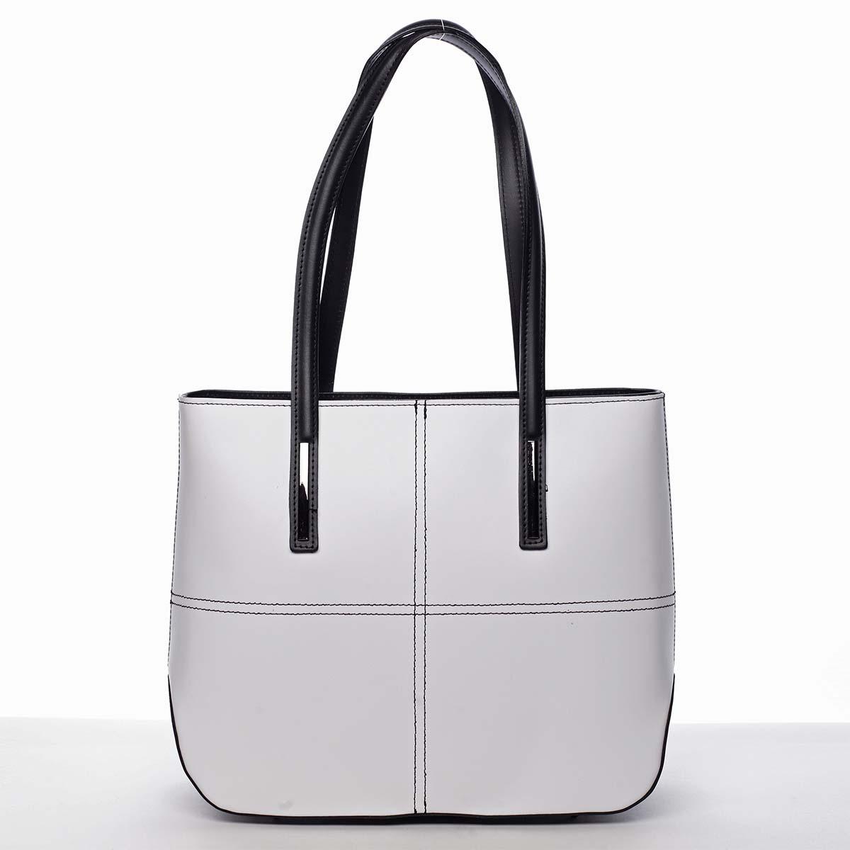 Moderná dámska kožená kabelka bielo čierna - ItalY Adalicia