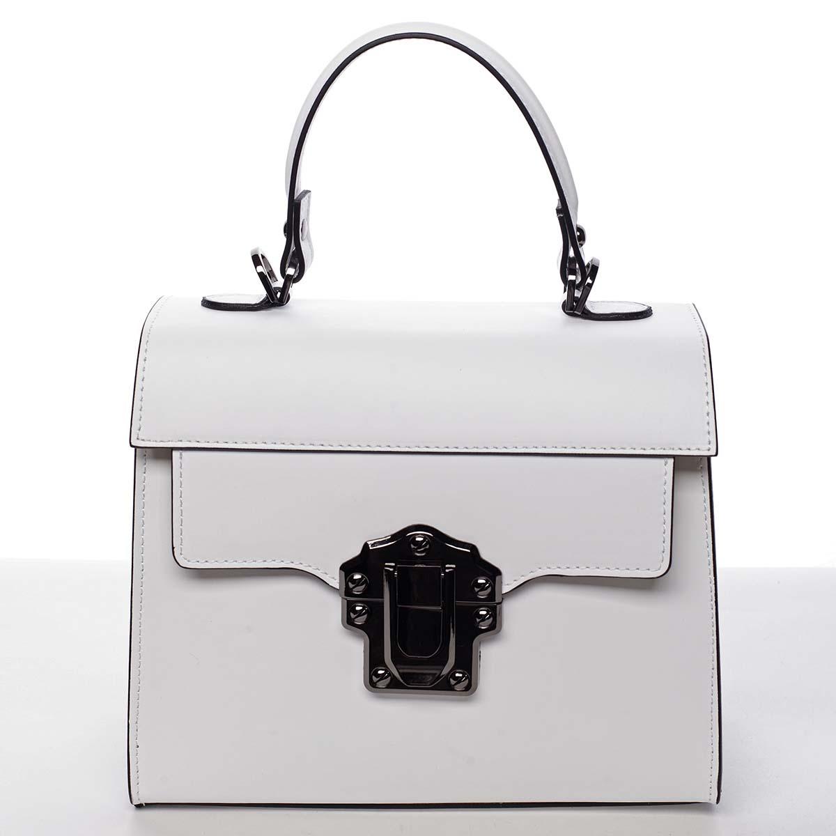 Exkluzívna módna dámska kožená kabelka biela - ItalY Bianka