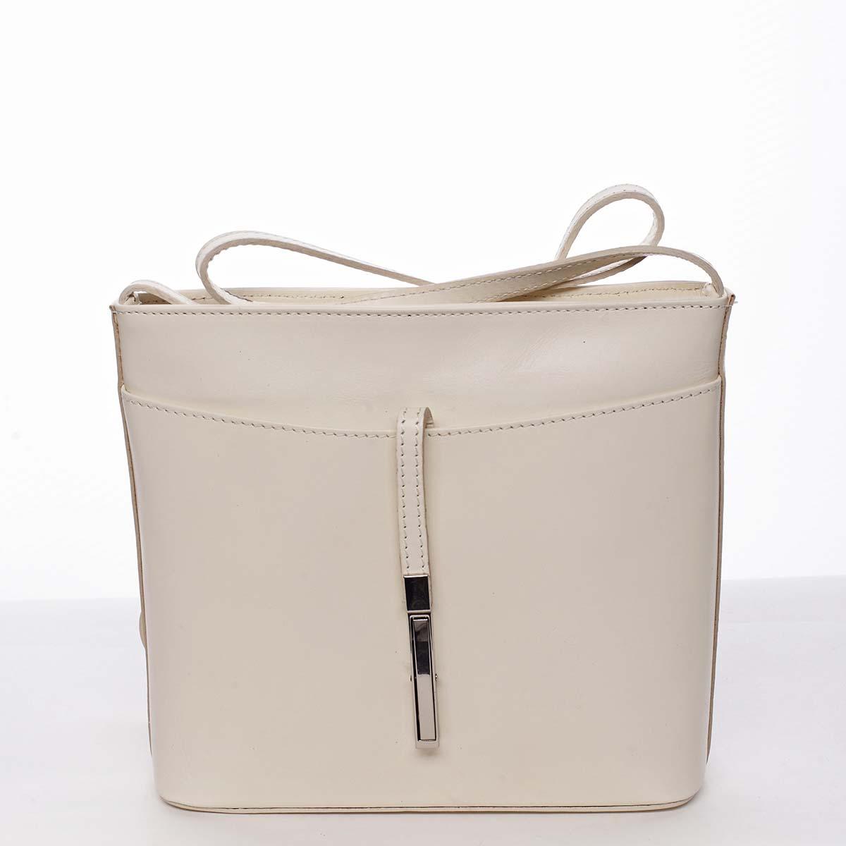 Dámska kožená crossbody kabelka béžová - ItalY Aneta