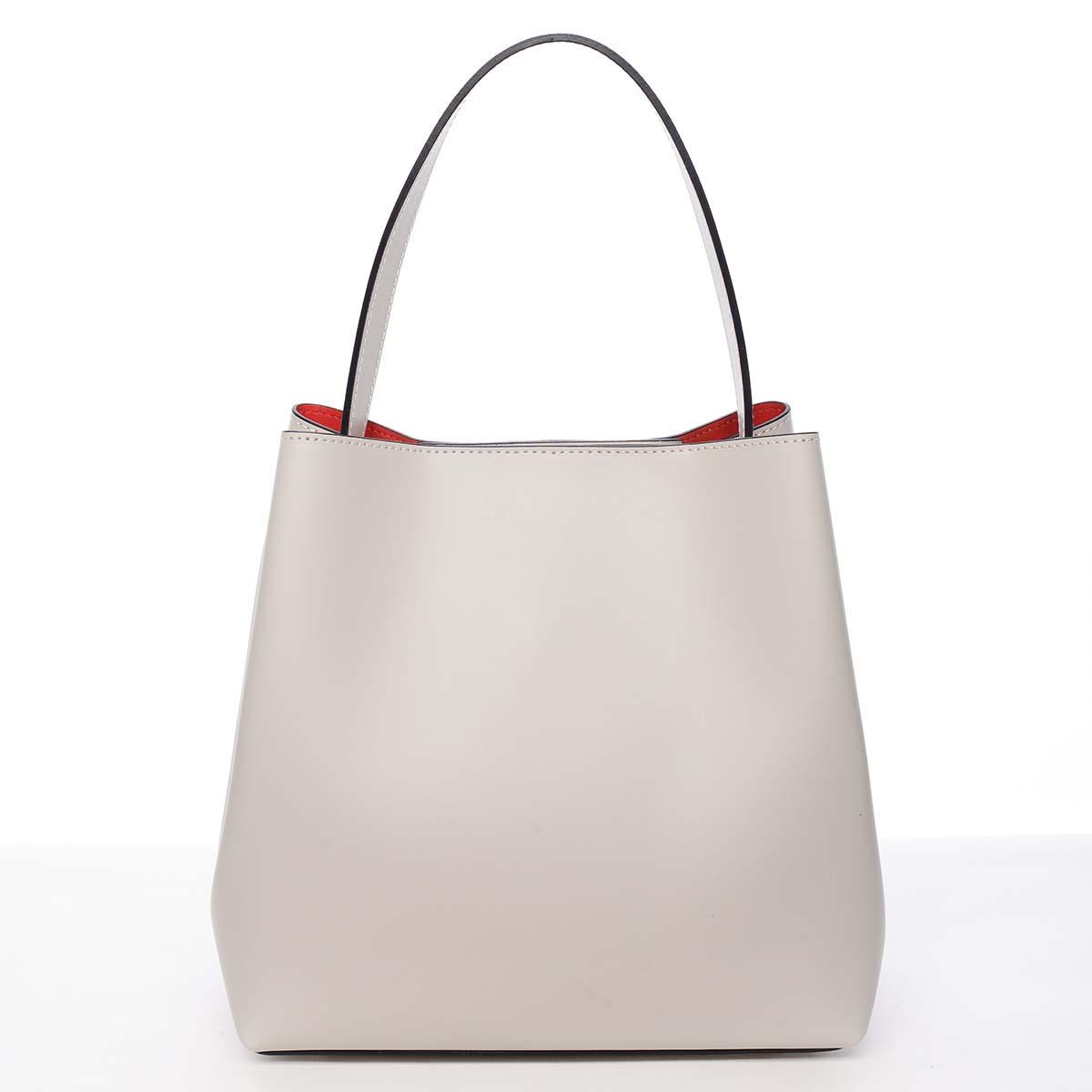 Dámska luxusná kožená kabelka béžová - ItalY Hania