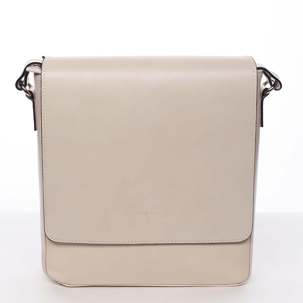 Pánska luxusná kožená taška cez plece béžová - ItalY Crosby