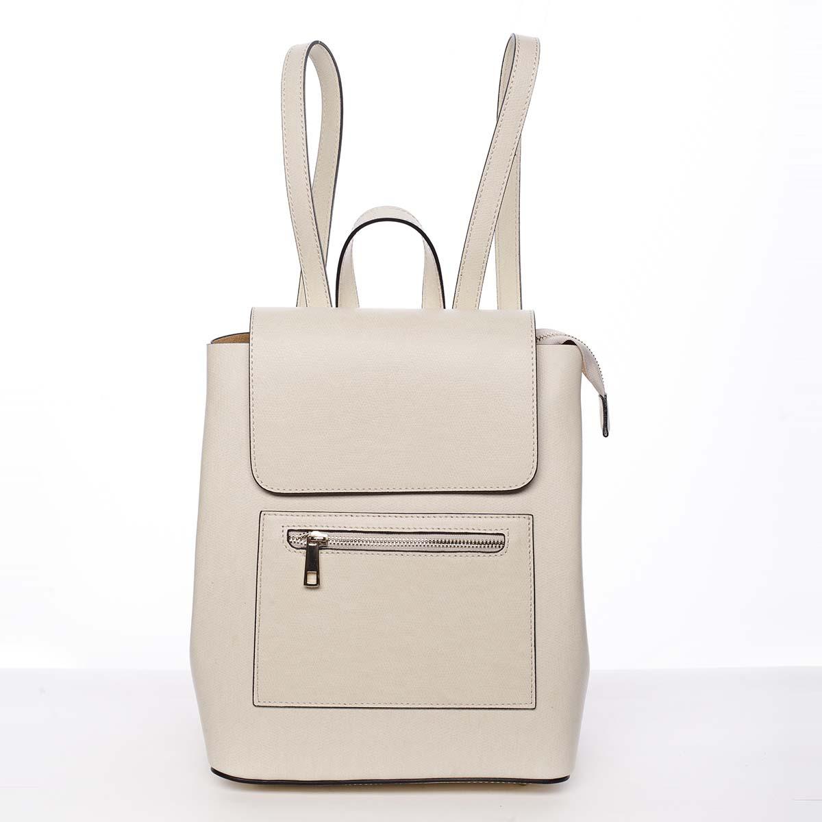Dámsky mestský batoh kožený svetlebéžový - ItalY Bernadea
