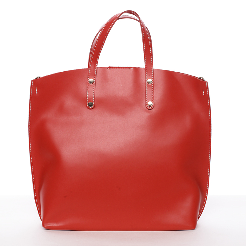 Dámska kožená kabelka do ruky svetločervená - ItalY Sydney
