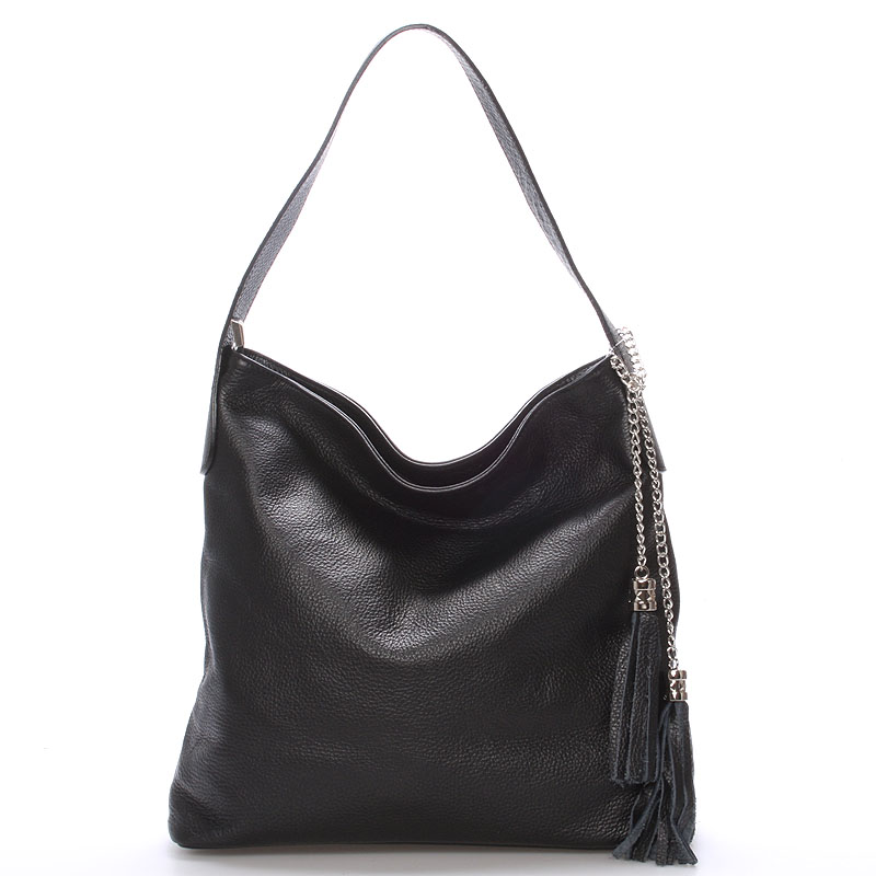 Módna kožená kabelka cez plece čierna - ItalY Georgine
