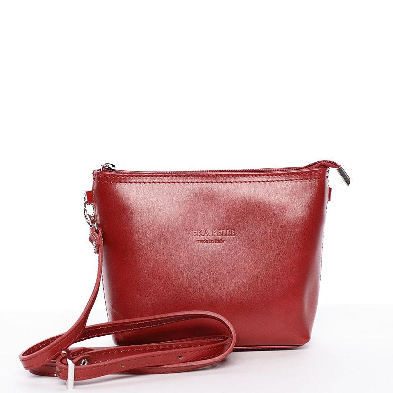 Dámska kožená crossbody kabelka červená - ItalY Garnet