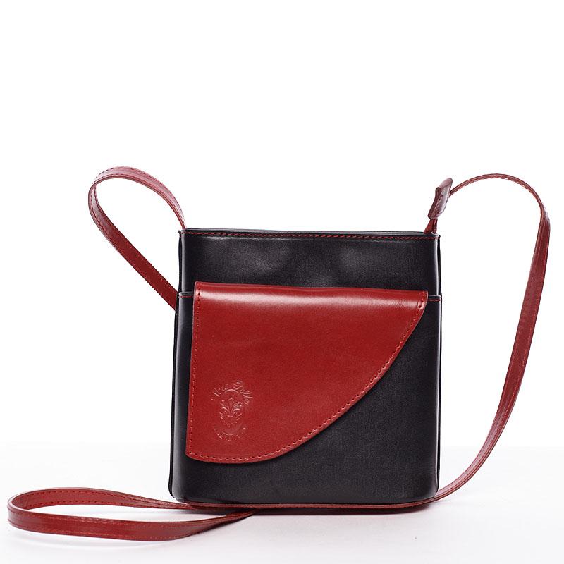 Dámska kožená crossbody kabelka čierno-červená - ItalY Cora