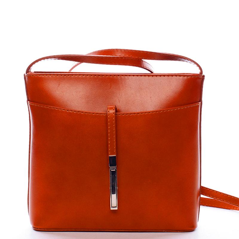 Dámska kožená crossbody kabelka svetlejšie hnedá - ItalY Aneta