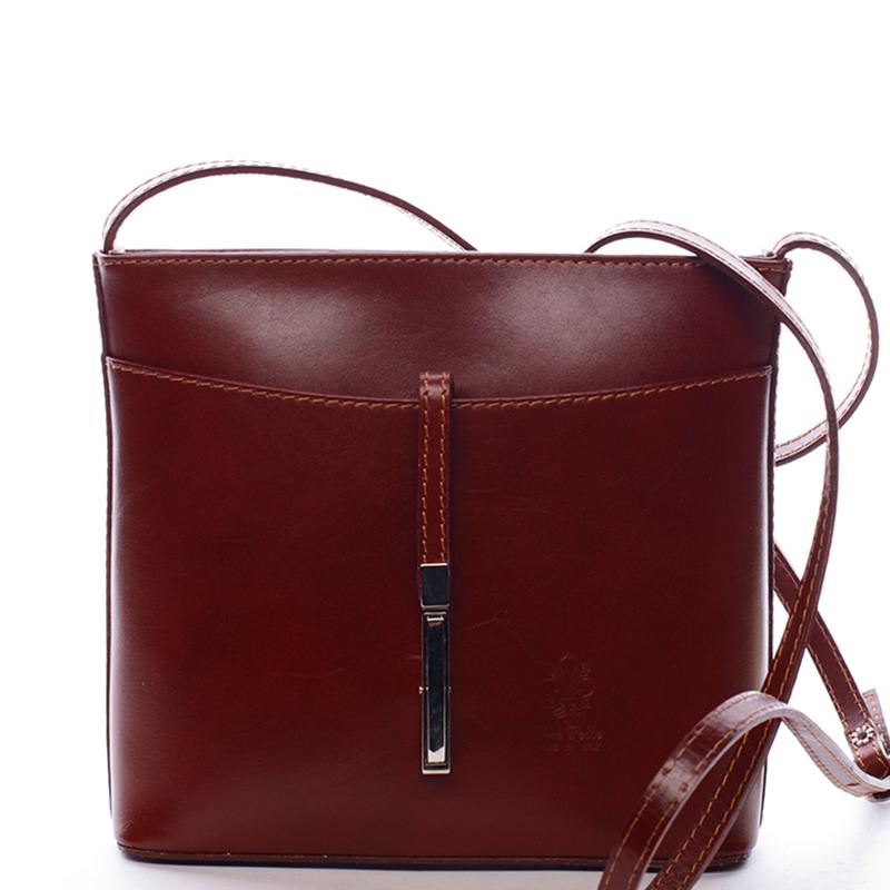 Dámska kožená crossbody kabelka hnedá - ItalY Aneta