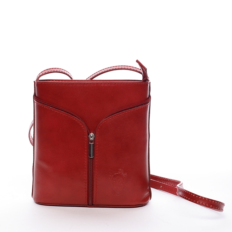 Dámska kožená crossbody kabelka červená - ItalY Hallie