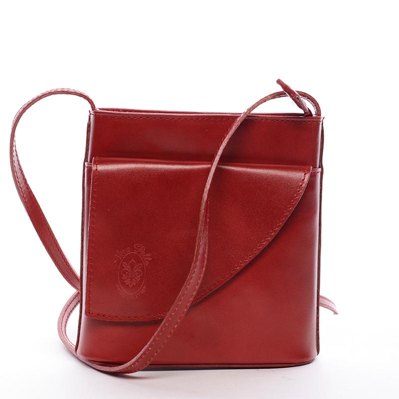 Dámska kožená crossbody kabelka červená - ItalY Cora