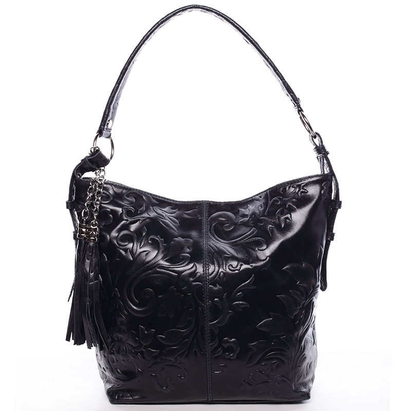 Dámska kožená kabelka cez plece čierna - ItalY Heather