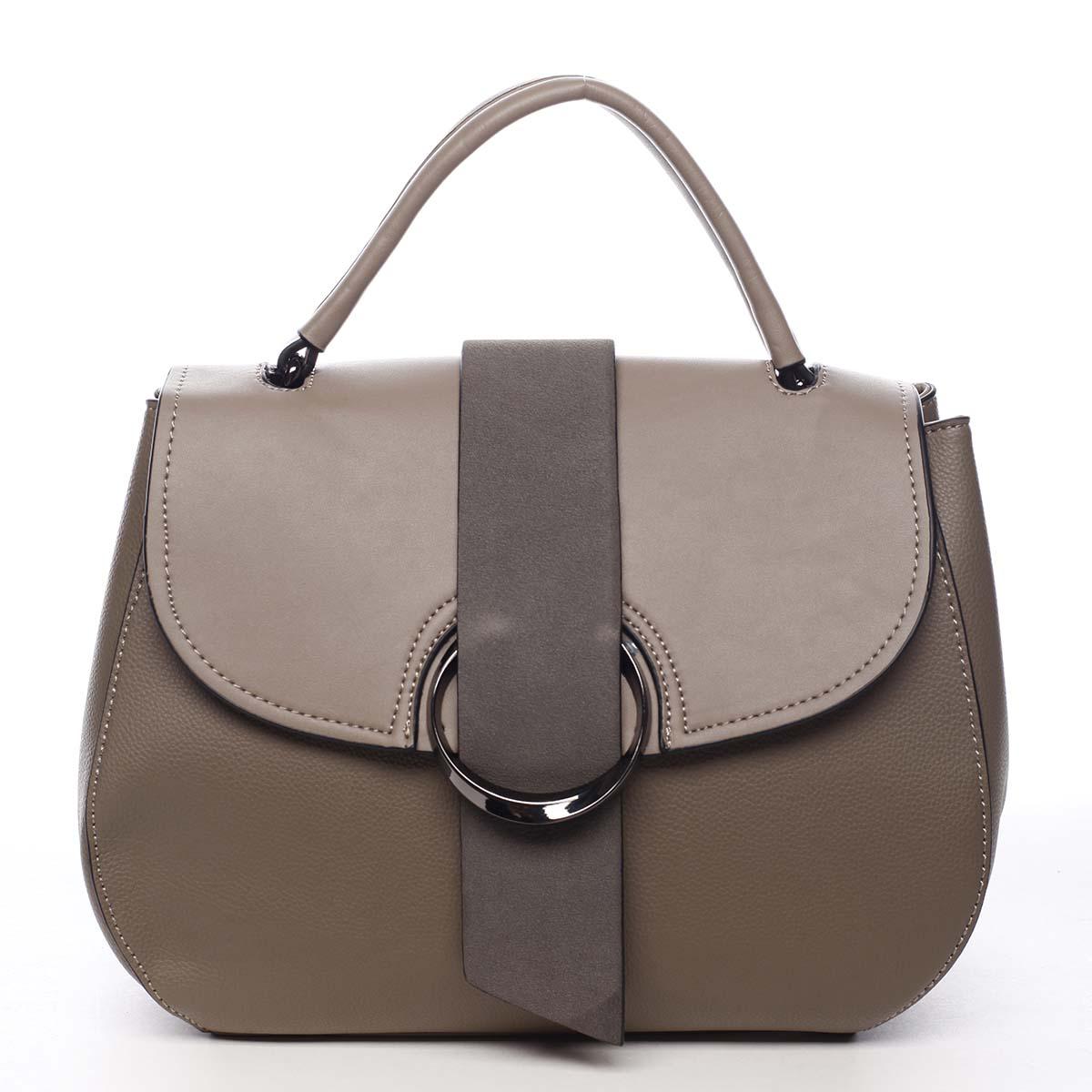 Jedinečná dámska kabelka do ruky taupe - Maria C Laurel
