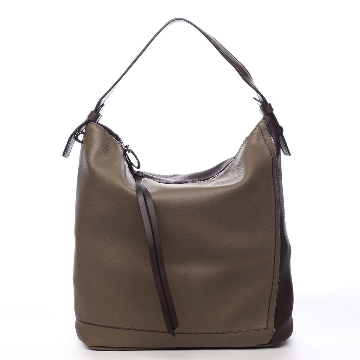 Veľká dámska kabelka cez plece taupe - Maria C Perola