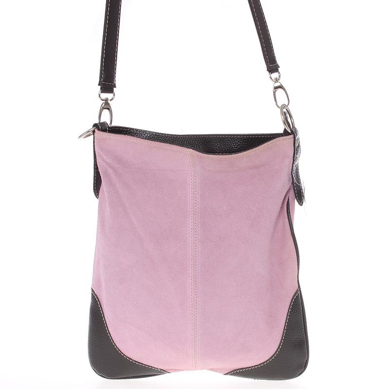 Dámska kožená crossbody kabelka svetlo ružová - ItalY 10062