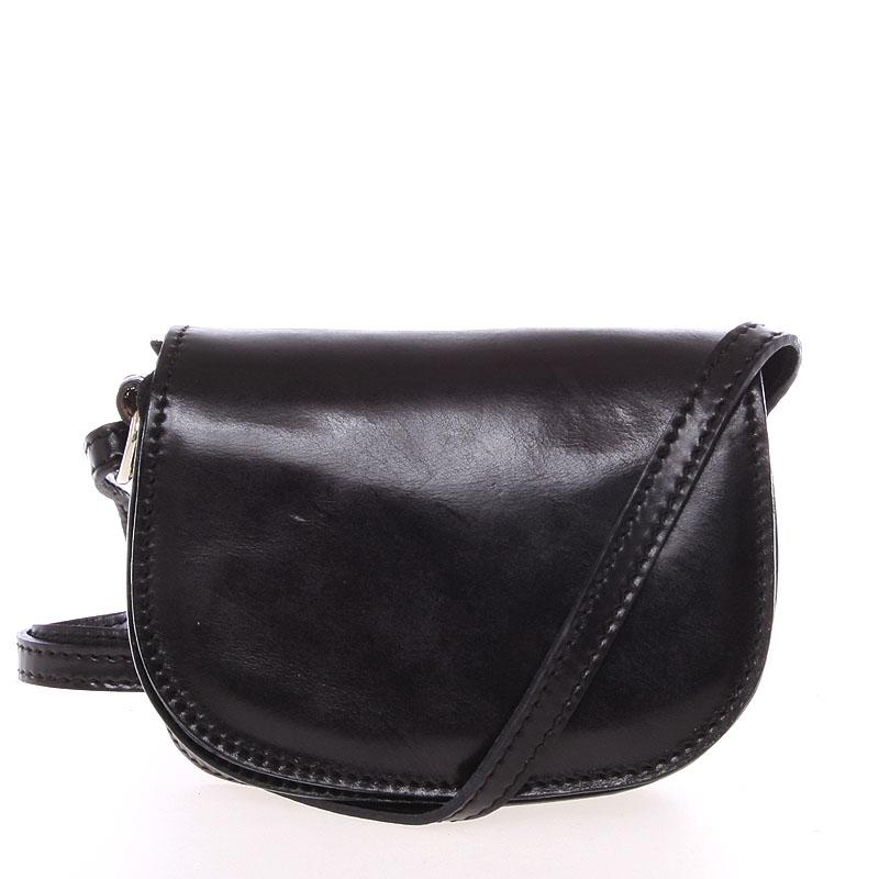 Malá čierna hladká crossbody kožená kabelka - Italo EmZoya