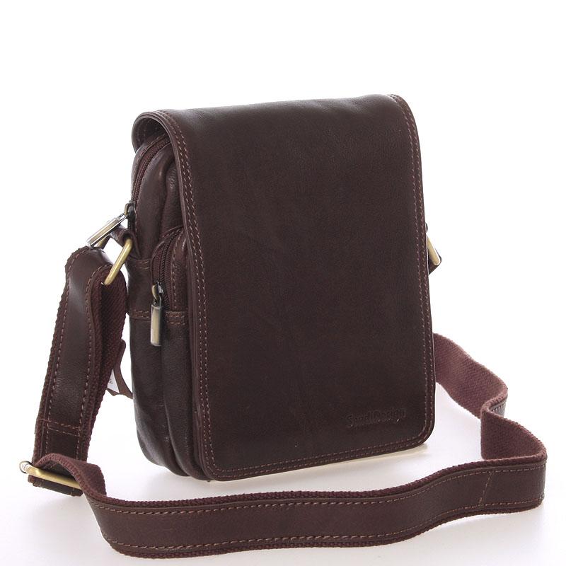 Pánska hnedá kožená taška cez rameno - SendiDesign Luxos