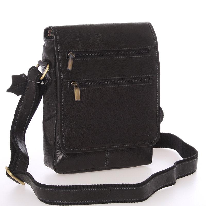 Módna pánska kožená taška cez plece čierna - SendiDesign Lycaon