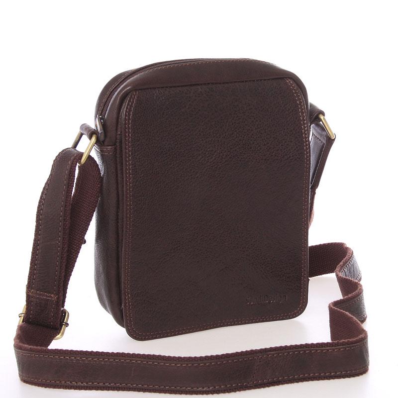 Pánska kožená taška na doklady cez plece hnedá - SendiDesign Didier
