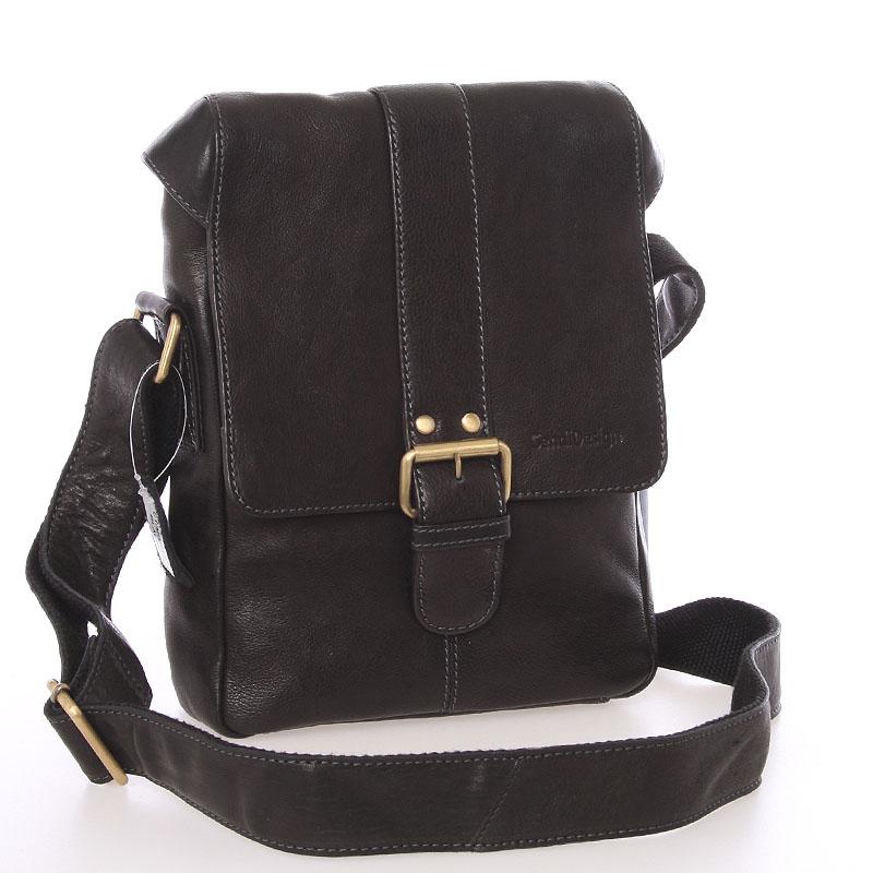 Stredná pánska kožená crossbody taška čierna - SendiDesign Lysander
