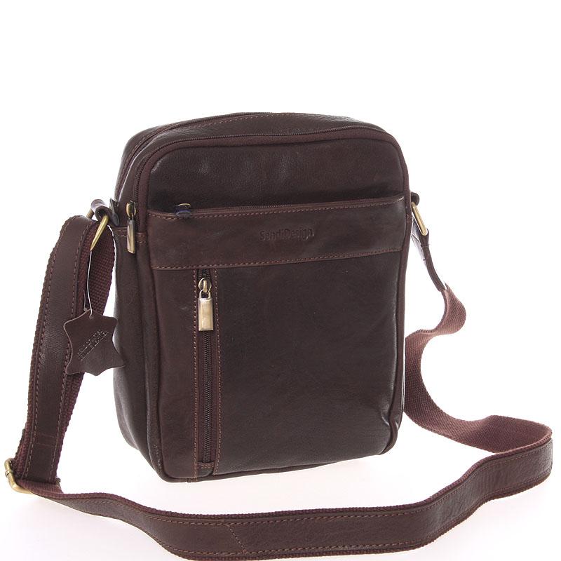 Štýlová pánska kožená taška cez plece hnedá - SendiDesign Loukanos