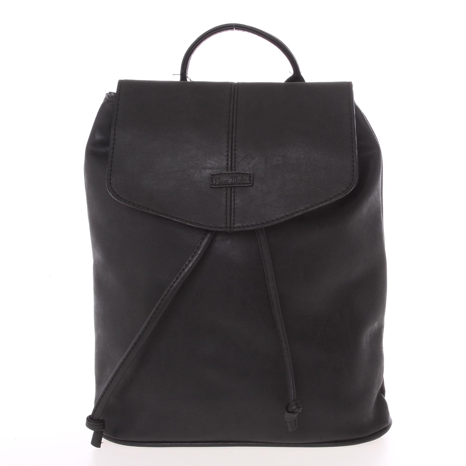 Kvalitný elegantný dámsky čierny batôžtek - Piace Molto Floriant
