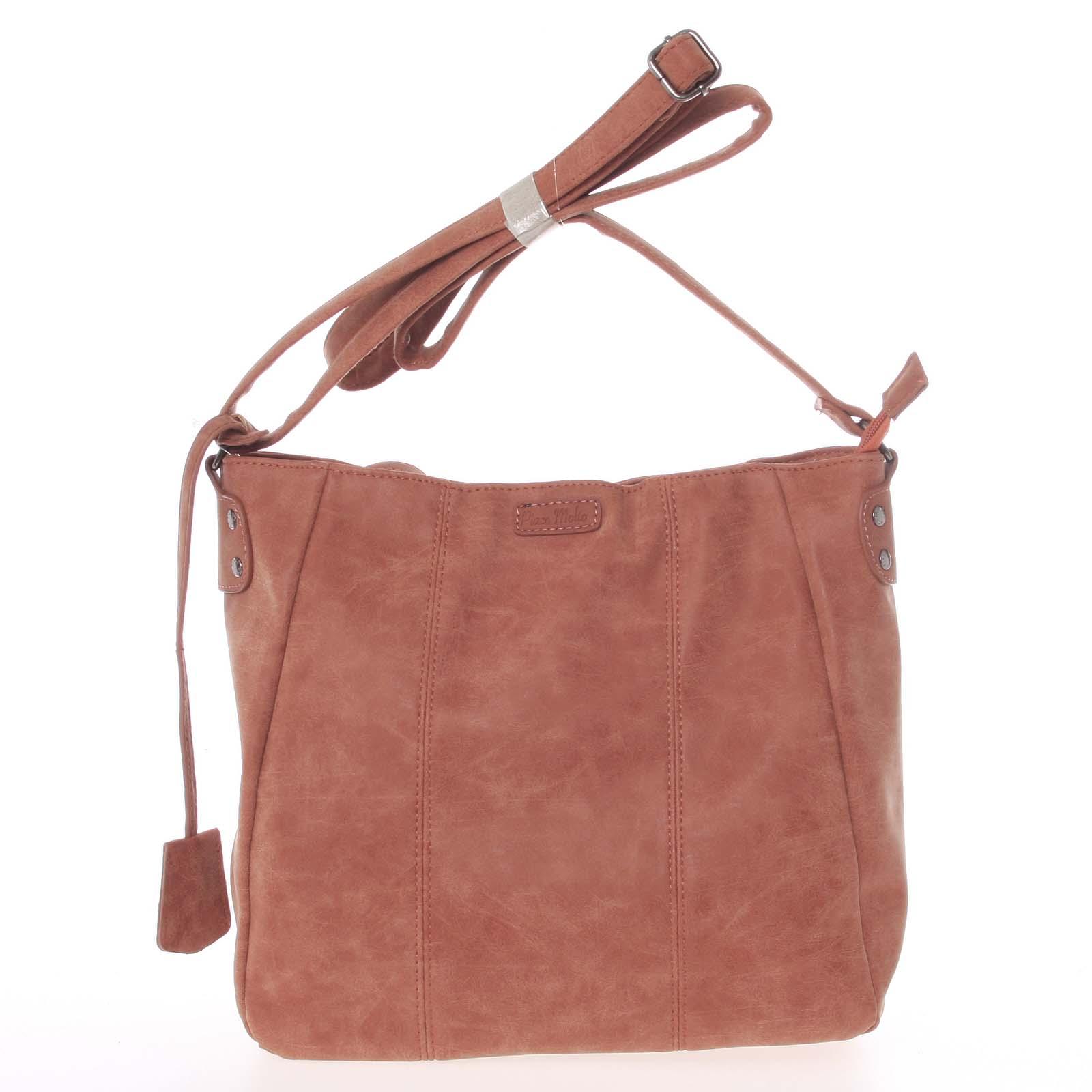 Dámska kvalitná staro ružová crossbody taška - Piace Molto Loreta