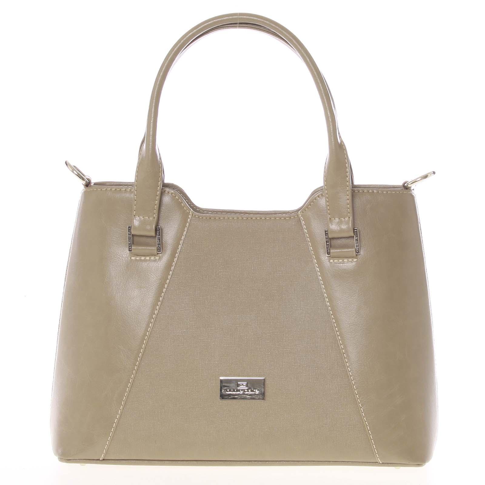 Pevná luxusná camel kožená kabelka saffiano - Annie Claire 4012