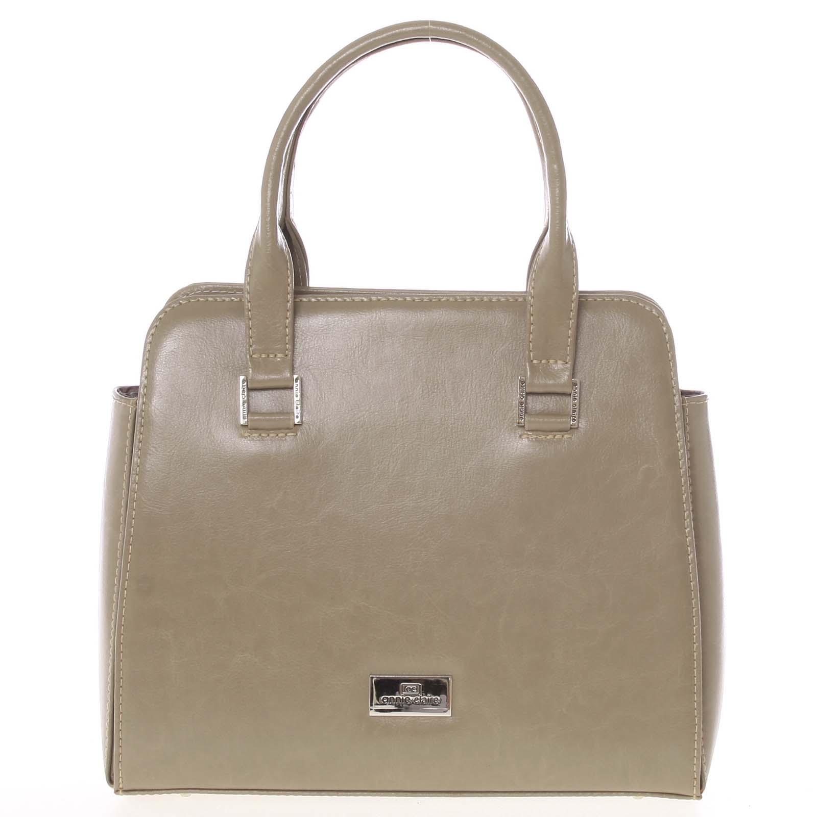 Pevná luxusná kožená kabelka cappuccino - Annie Claire 2212